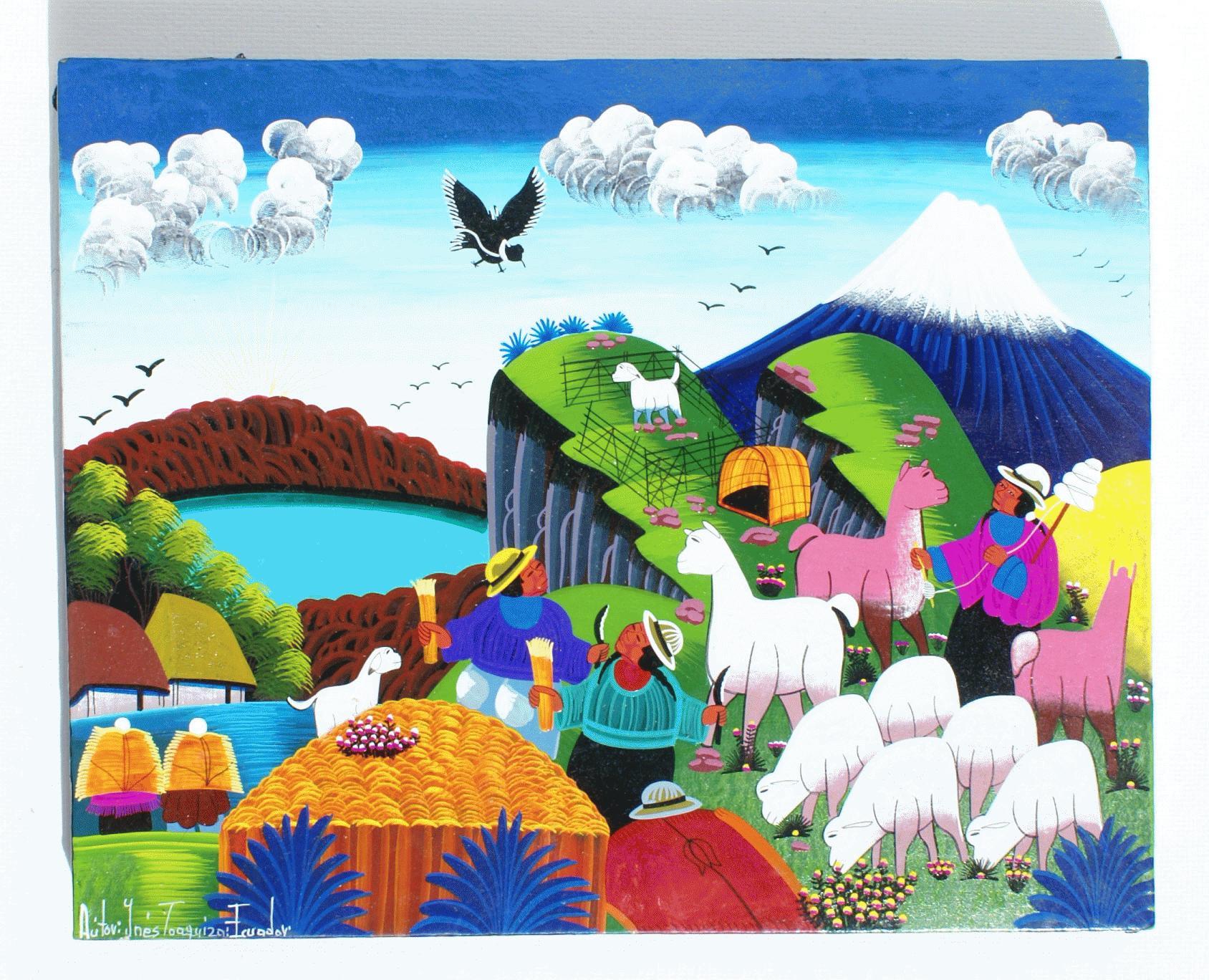 Dibujos de colores tamao 20 x 15 cm Artesana de Ecuador