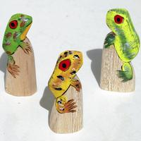 Small wooden frogs