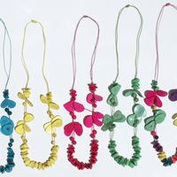 Colored tagua necklaces