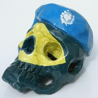 Painted wooden skull