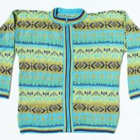 Blue-green sweater de alpaca