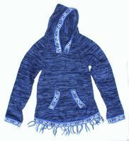 Bleu foncé à capuche en laine