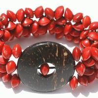 Bracelet graines rouges